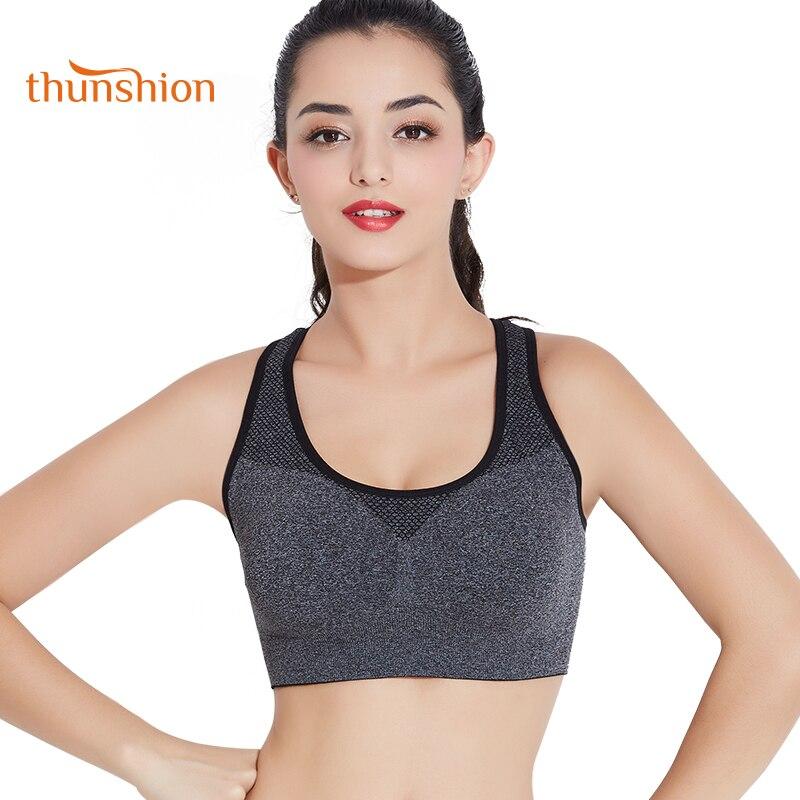 THUNSHION Lingerie Stretch Fitness Bra Sport Top Women for Aerobics Running Yoga Bra Seamless Breathable Padded Crop Bra Vest