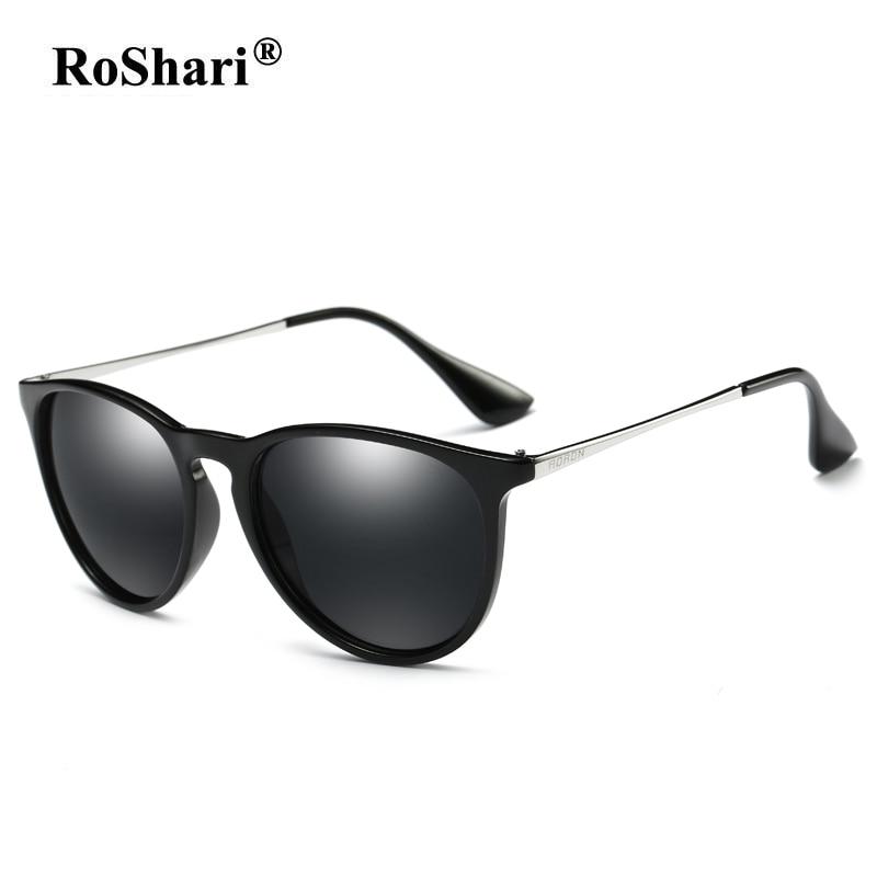 RoShari Unisex Polarized Sunglasses Women men Brand Designer Colorful Driving Cat Eye Sun Glasses men Vintage Eyewear gafas