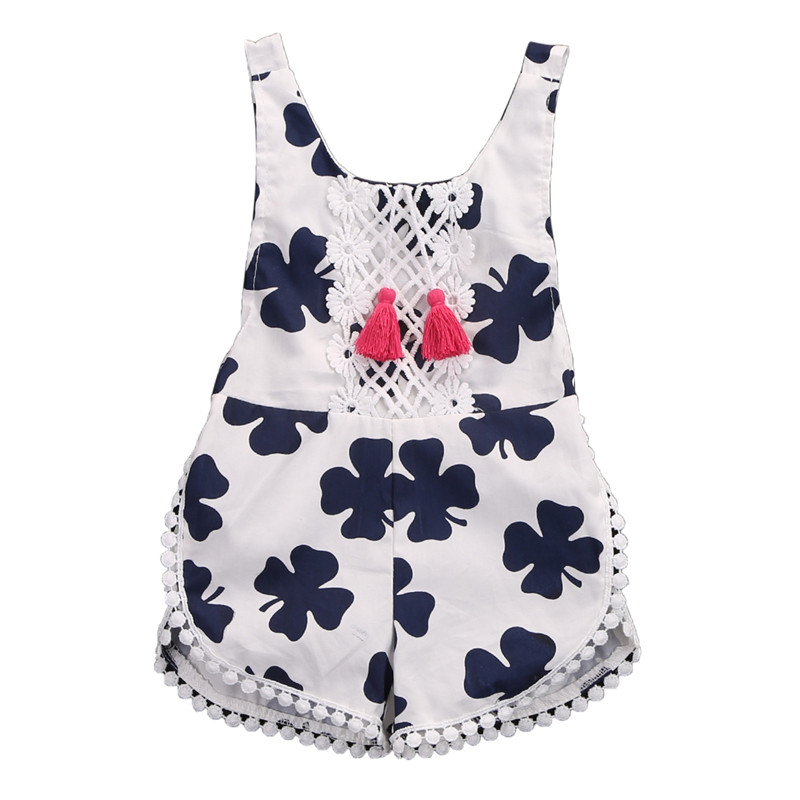 CANIS Newborn Baby Girls Lucky Grass Cotton Floral Tassel Romper Outfits Backless Fashion Jumpsuit0-4T