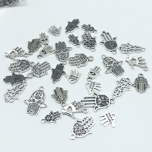 30pcs Mixed batch Charm heart eyes palm pendant antique jewelry vintage Tibetan silver DIY bracelet necklace