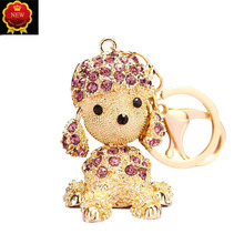 New Car Key Creative Crystal Diamond Puppy Chain Pendant hanging Rings Jewelry Hangingbag Ornament Girl