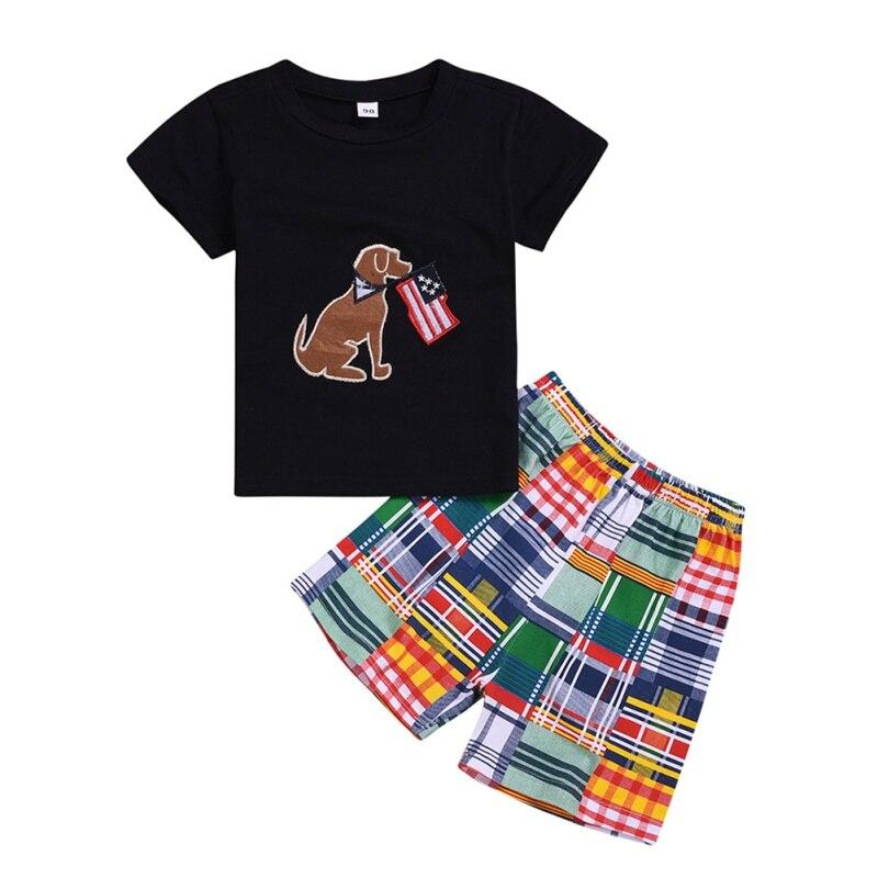 2 Teile/satz Sommer Kinder Baby Jungen Casual Kurzarm Tier Hund Drucken T-shirt Tops + Plaid Shorts Anzüge Kostüm Set Warmes Lob Von Kunden Zu Gewinnen