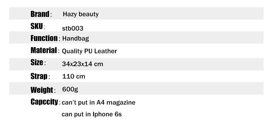 Hazy beauty Women Handbag Female PU Leather Bags Handbags Ladies Portable Shoulder Bag Office Ladies Hobos Bag Totes 62