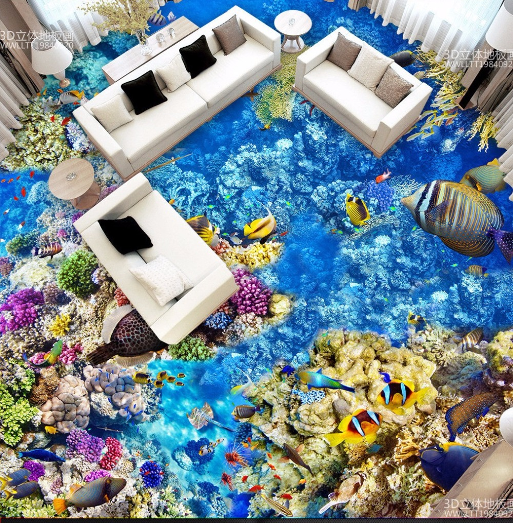 Free Shipping Underwater World Tropical Fish Coral 3D Floor Tile ...