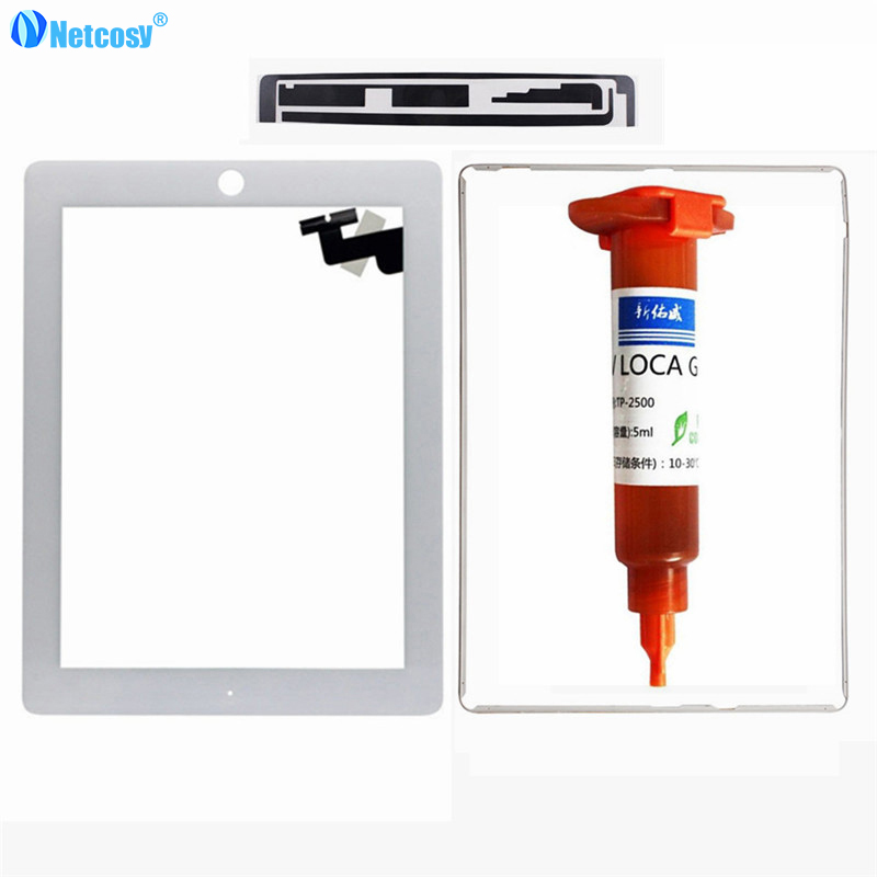 Netcosy White/Black Touch Screen for iPad 2 A1395 A1396 A1397 glass tablet touch panel with Adhesive Tape and 5ml UV glue