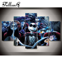 FULLCANG 5PCS Diy Full Square Diamond Embroidery Nightmare Before Christmas Diamond Painting Cross Stitch Mosaic Kits G317 fullcang beauty full square diamond embroidery 5pcs diy diamond painting cross stitch mosaic kits g591