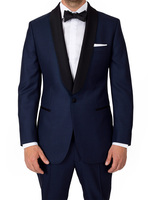 2017 Custom Navy Dark Blue Men Suits Groom Tuxedos Jacket Pant Wedding Suit For Mens Prom
