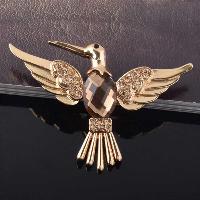 Ahyonniex 1 PC Kristal Keemasan Hummingbird Paduan Bros Fashion Korsase Burung Lencana untuk Keanggunan Wanita Tas dan Pakaian