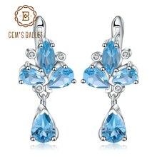 ff2e756b33c4 GEM S BALLET 6.69Ct Topacio Azul suizo Natural de piedras preciosas  pendientes de la flor de la plata esterlina 925 pendientes p.