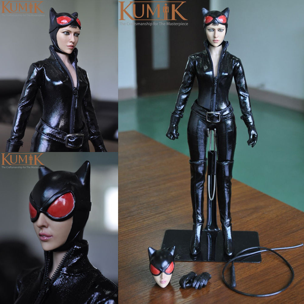KMF029 1/6 Batman Catwoman Figure Doll With Black Leather Clothing Set Collectible Toy Models Gift Free Shipping
