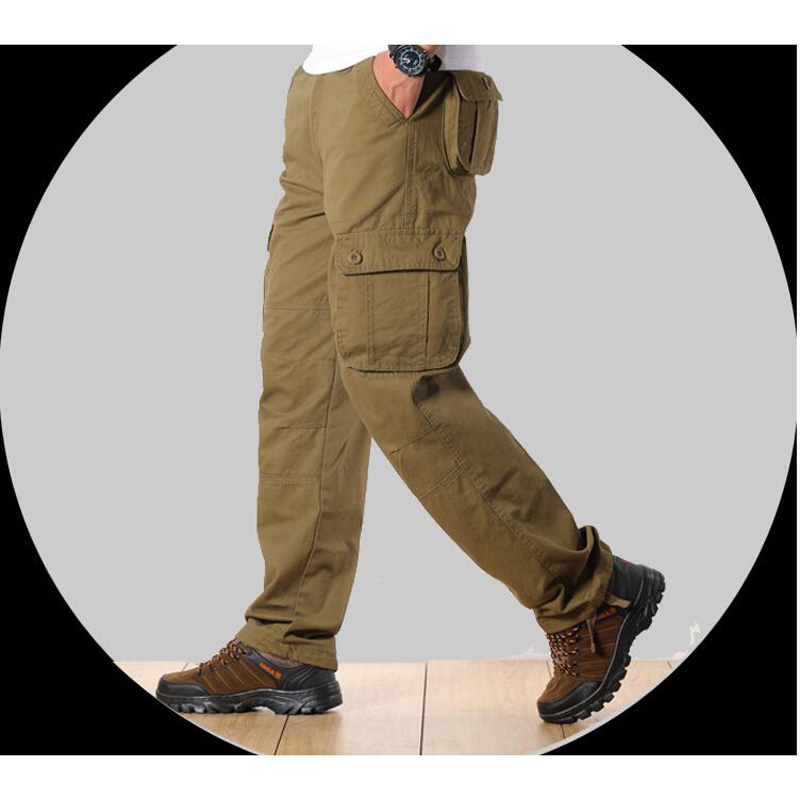 Men's Cargo Pants Mens Casual Multi Pockets Military Tactical Pants Men Outwear Army Straight Slacks Long Trousers Large Size 44