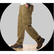 Мужские брюки карго Для мужчин s Повседневное несколькими карманами военно-тактические брюки Для мужчин Пиджаки Армия прямые брюки длинные брюки большой размер 44