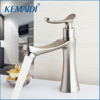KEMAIDI Bathroom Basin Faucet Nickel Brushed Stream Spout Faucets Bathroom Sink Single Cold Taps Deck Mounted Single Handle Tap