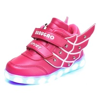 STRONGSHEN 2017 New Kids Shoes Wing LED Lights Children Kids Sneakers Boys Girls New Light Up