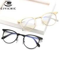 CIVICHIC New Chic Flat Eyewear Retro Round Cay Eye Glasses Metal Optical Frame Oculos Elegant Clear