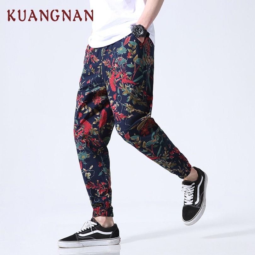 KUANGNAN Men Trousers Jogger-Pants Ankle-Length-Pants Japanese Streetwear Chinese-Style