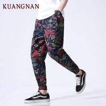 KUANGNAN, китайский стиль, длина по щиколотку, мужские брюки, хип-хоп штаны для бега, мужские спортивные штаны, Японская уличная одежда, мужские штаны