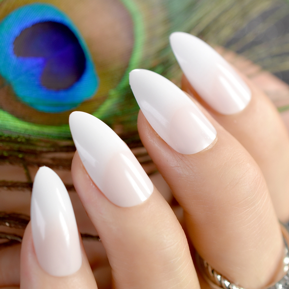 Stiletto Acrylic Nail Tips Gradient Natural White Medium Size French Artificial False Nails for Lady Wear with Glue Sticker Z764