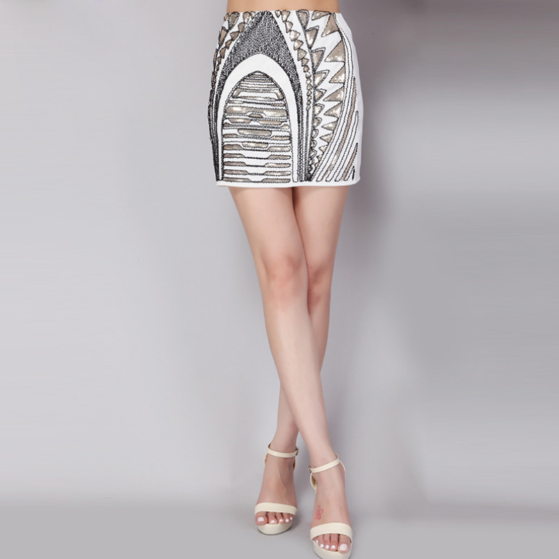 European And American Women's Fashion Sequined Beading Hip Package Short Skirt 2Color