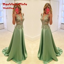 Custom Made Green Long 2017 Formal Women A-Line Lace Robe De Soiree Sexy Appliques Beading Cheap Prom Dresses Evening Dresses