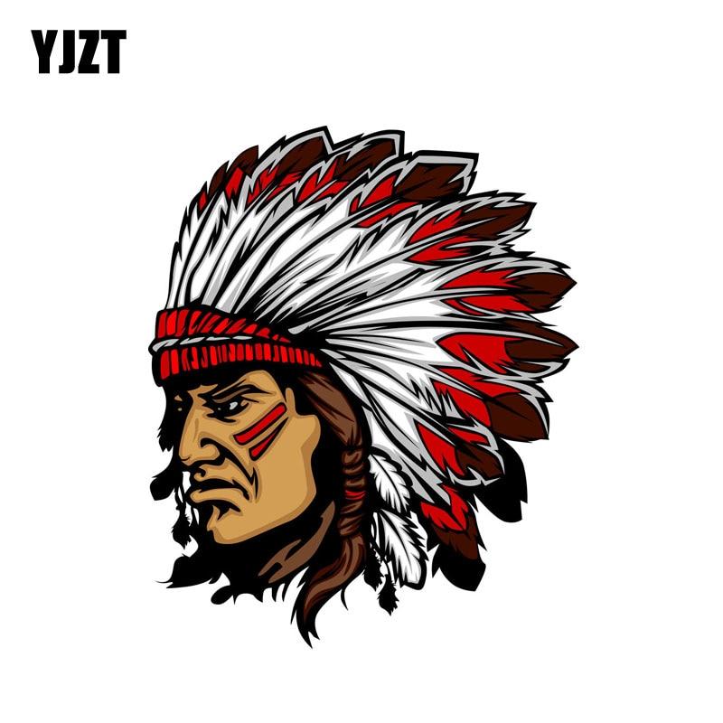 YJZT 13.6CM*16.6CM Personality Indian Chief Mascot Head Car Sticker Helmet Body Accessories 6-2272