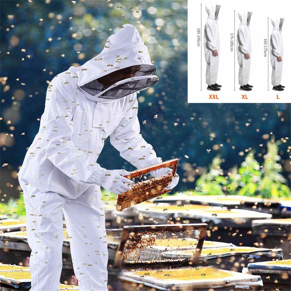Dress Beekeeping-Clothing Safty Beekeepers Bee-Protection Hat Veil Professional All-Body-Equipment