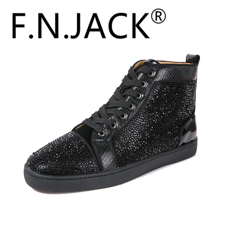 FNJACK Chaussures De Mode Strass Swarovski Suede Sneaker Salut-top - Chaussures pour hommes - Photo 3
