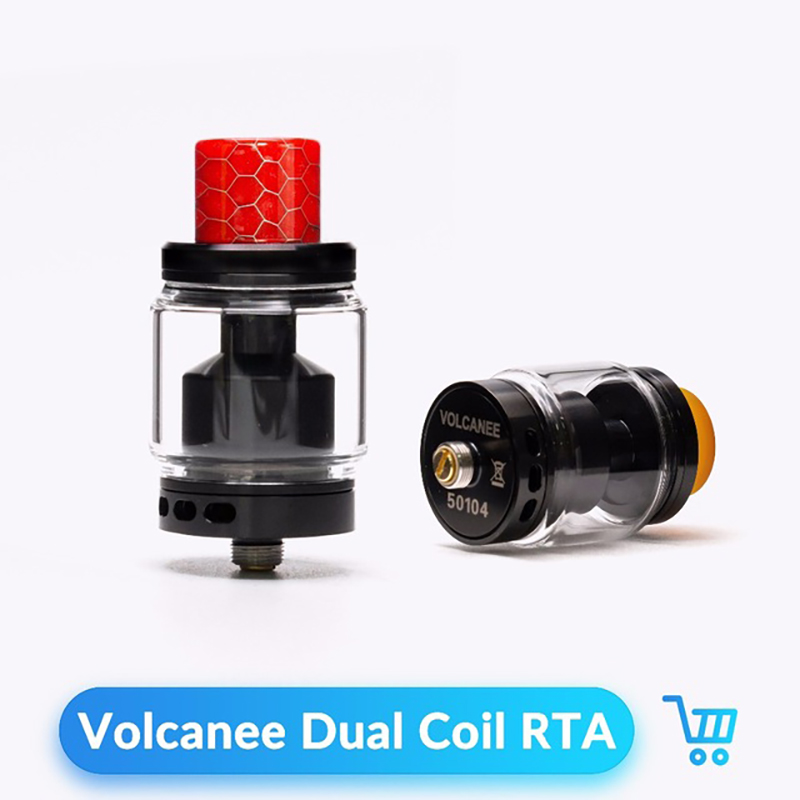 Volcanee bobina doble de RTA atomizador 24mm diámetro 5 ml capacidad Vape tanque para 510 hilo electrónica de cigarrillo Box. mod Vape RTA