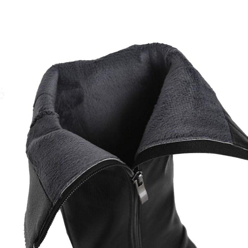 Cuero Zapatos Caliente 39 Mujeres Botas Knight Cremallera Sólido Piel Invierno De Tamaño negro Color Beige Taoffen Mujer Moda Rodilla Real 34 PSEq8