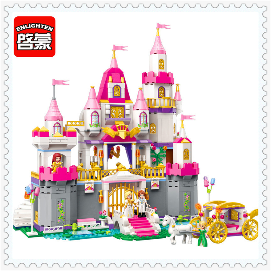 938Pcs Girl Friends Princess Castle Celebration Building Block Toys ENLIGHTEN 2612 Figure Gift For Children Compatible Legoe princess ponies 6 best friends for ever