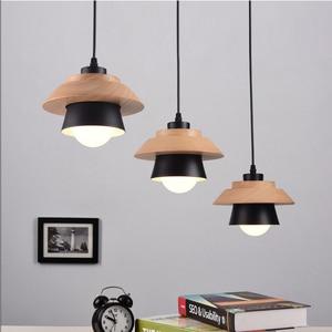 Image 3 - 北欧装飾ペンダントライトサスペンション照明器具、 E27 アルミ木製ペンダントランプ現代の照明器具黒、白