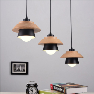 Image 3 - Nordic Decor Pendant Lights Suspension Luminaire, E27 Aluminum Wood Pendant Lamp Modern Light Fixtures Black White
