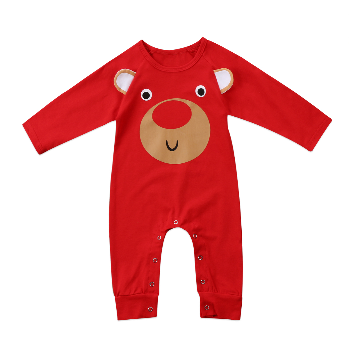 Christmas Newborn Infant Baby Boys Girls 3D Deer Cartoon Romper Jumpsuit Cute Children Long Sleeve Cotton Clothes Outfit cotton cute red lips print newborn infant baby boys clothing spring long sleeve romper jumpsuit baby rompers clothes outfits set