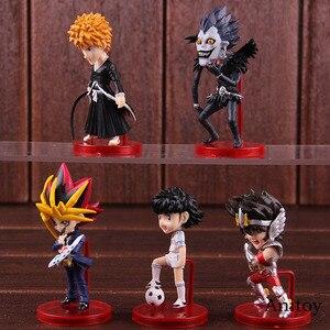 Image 4 - Anime Bleach Kurosaki Ichigo Saint Seiya Ozora Tsubasa Yugi Muto Ryuk figurka pcv Model kolekcjonerski figurki zabawki 5 sztuk/zestaw