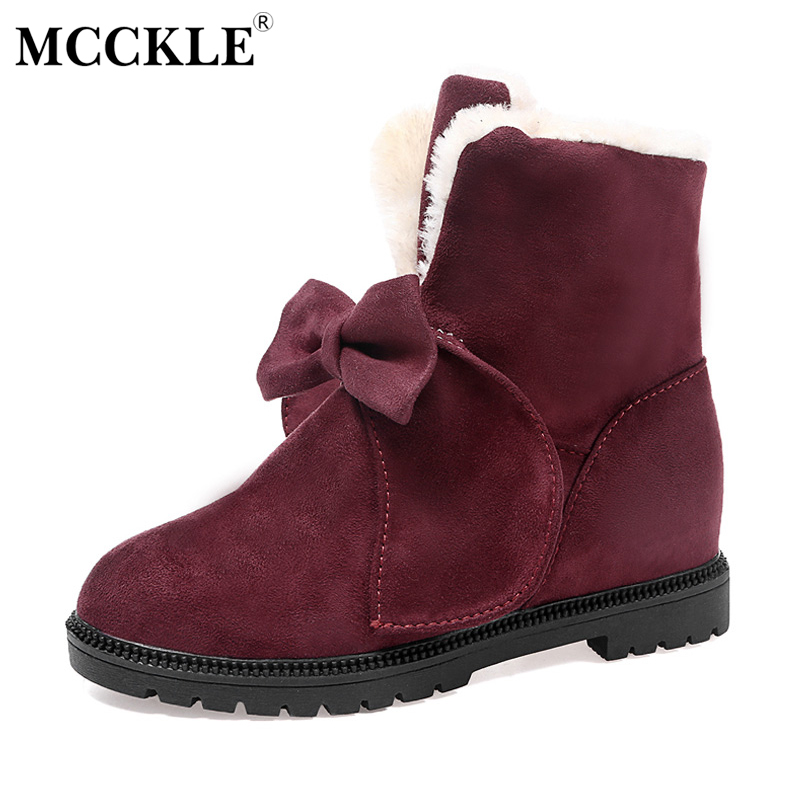 MCCKLE Ladies Warmer Plush Bowtie Fur Suede Slip On Winter Ankle Snow Boots 2017 Women's Fashion Solid Platform Black Shoes mcckle female winter warm plush ankle snow boots 2017 women fashion lotus leaf side fur slip on platform solid style shoes