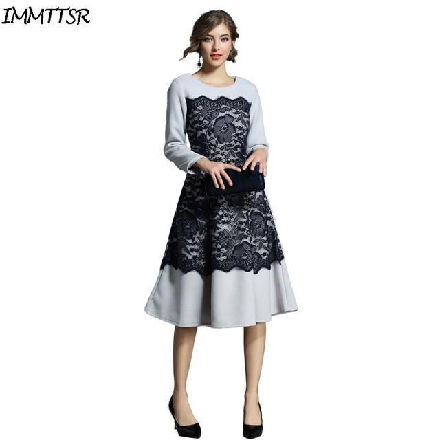 4c10cb6a24 IMMTTSR Zimą Ciepłe Wełniane Suknie Party Dress Kobiety Z Długim Rękawem  Koronka Kobieta Boże Narodzenie Pani