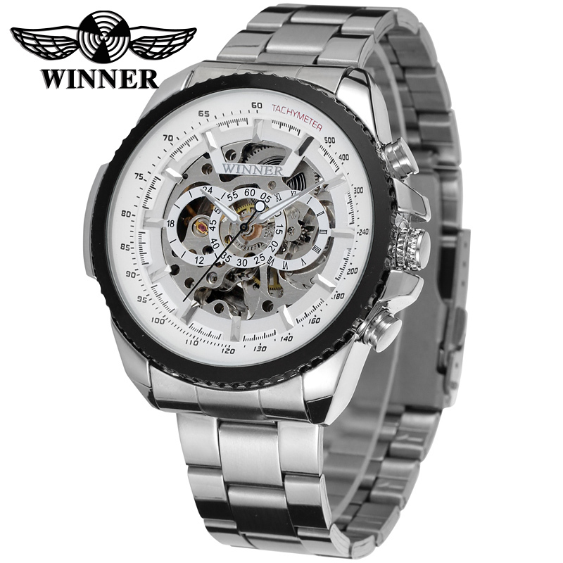 WINNER Men Luxury Brand Military Silver Skeleton Stainless Steel Watch Automatic Mechanical Wristwatch Gift Box Relogio Releges ik luxury fashion casual stainless steel men automatic mechanical watch skeleton watch for men s dress wristwatch free ship