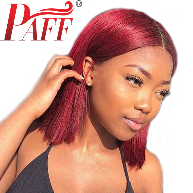 PAFF 99L Color Lace Front Wig Short Human Hair Wigs For Women Straight Bob Wig Full End  ...