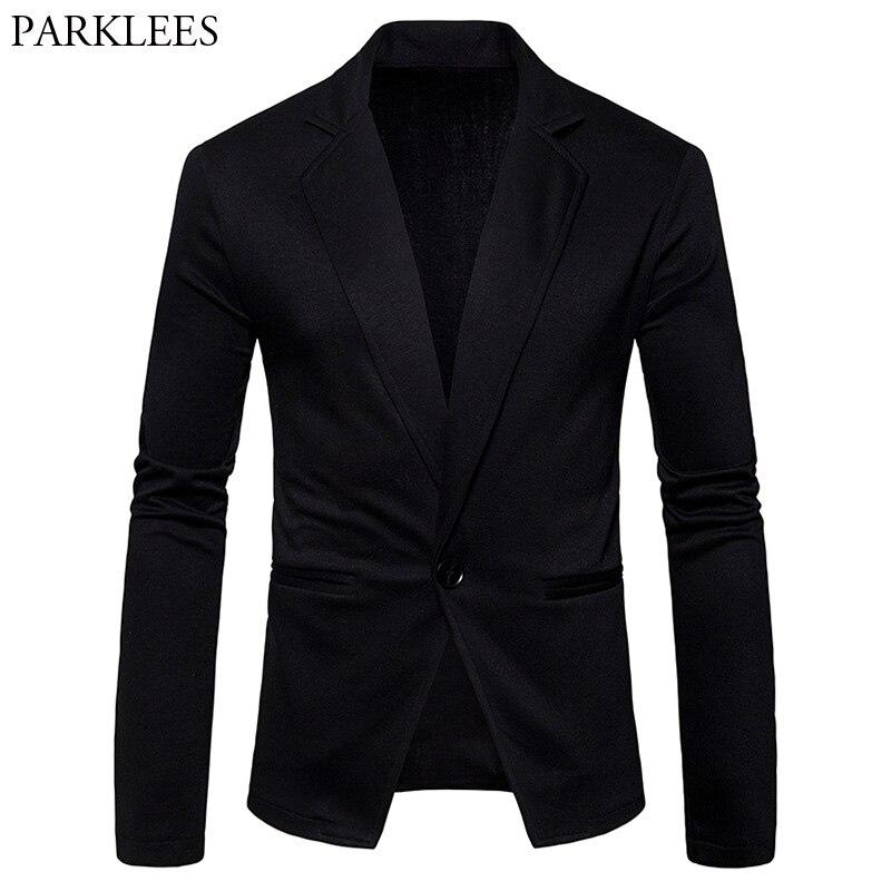 Mens Casual Slim Fit Single Breasted One Button Knitting Blazer Jacket 2018 Fashion Knit Blazers Jackets Men Blazer Masculino