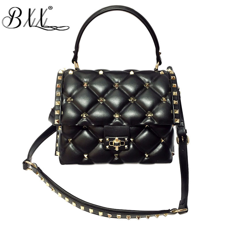 BXX Sac / 2019 New Women Flap Pocket Rivet Spring High end Fashion Light Luxury Wild Shoulder Messenger Bag Handbags ZC381-in Shoulder Bags from Luggage & Bags    1