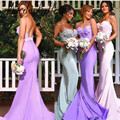 Western Pink Purple Bridesmaid Dresses Mermaid Backless Sexy Wedding Party Dress 2017 Lace Vestiti Da Damigella Free Shipping