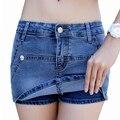 Pantalones cortos de mezclilla faldas Jeans verano azul caliente pantalones cortos de señora de la cadera delgada azul cortocircuito de moda Femme 2016