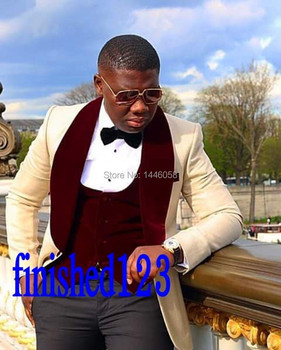 2018 Latest Design Shawl Lapel Mens Dinner Party Prom Suits Groom Tuxedos Groomsmen Wedding Suits For Men Jacket+Pants+Vest+Bow