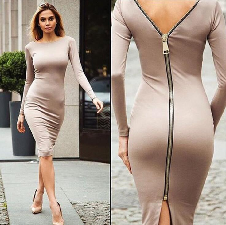 5 Color Autumn Dress 2016 women Drees Package Hip Long-Sleeved Dress Women Warm Pure Color Sexy Cozy Clothing Plus Size ...