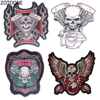 f518a8e1d ZOTOONE Punk cráneo parches para ropa bordado parche coser ropa grandes  decoraciones de hierro en parche aplicaciones E