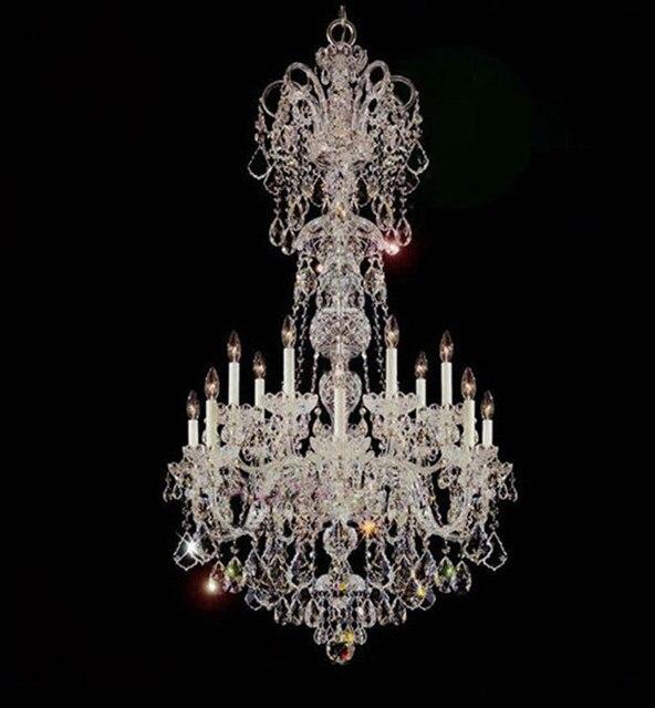 Deplex building high quality crystal chandelier lighting D80cm*H138cm E14*15 large living room led candle chandelier candelabro