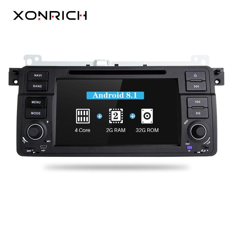Xonrich Voiture DVD Lecteur 1 Din Android 8.1 Pour BMW E46 M3 318i/320/325/330/ 335 Rover 75 mg ZT Radio Audio Stéréo GPS Navigation BT