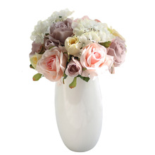 1 pcs Silk Rose Artificial Flowers Babies breath branch Flower Bouquet For Home Wedding Decoration