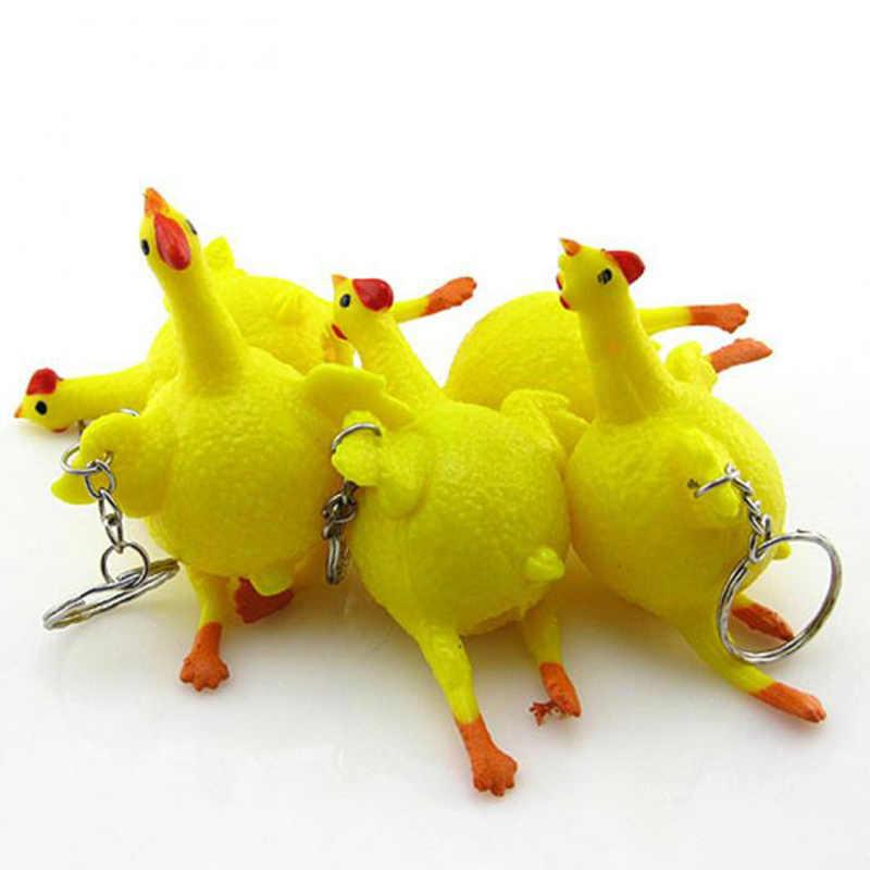 Juguete antiestrés para apretar oyuncak, juguete antiestrés para la parodia de pollos, huevos ponedores, gallinas, llavero de estrés, Gadge