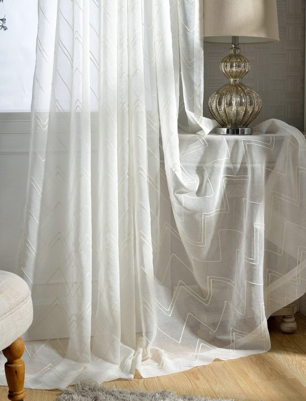 Geometry embroidered voile curtains modern style white tulle curtains screens rideaux pour le - Rideaux de salon ...